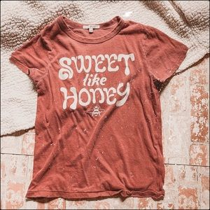 Junk food sweet like honey brick red burnout tee